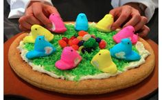 Pizza+Peeps = Peepza?  I will do this on a large cookie crust!