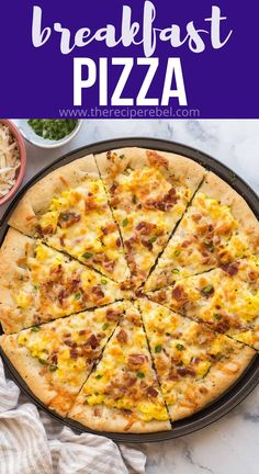 This Breakfast Pizza starts with homemade pizza dough and is topped with scrambled eggs, crispy bacon and cheese! Perfect for breakfast or dinner! #pizza #breakfast #recipes #dinner | easy pizza recipe | easy pizza dough | easy dinner ideas | scrambled eggs | bacon Recipes Dinner, Brunch Recipes, Brunch Ideas, Egg Recipes, Dinner Ideas, Recipies, Breakfast Pizza, Breakfast Dishes, Best Breakfast Recipes