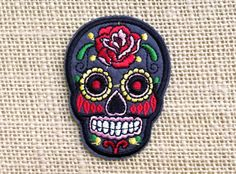 "Skull Patches. Iron On Patches for Jackets Backpacks. Day of the Dead Patches 2""…"