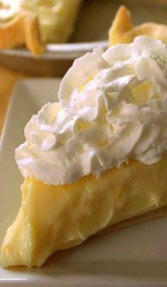 Lemon Sour Cream Pie Recipe ~ It's super simple, yet loaded with lemon flavor.