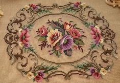 Handmade Stitched Colorful Hibiscus Flowers In Scroll Needlepoint Canvas | eBay