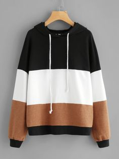 Shop Cut And Sew Hoodie online. SheIn offers Cut And Sew Hoodie & more to fit your fashionable needs. Fashion Mode, Teen Fashion Outfits, Korean Fashion, Fall Outfits, Casual Outfits, Cute Outfits, Jugend Mode Outfits, Stylish Hoodies, Diy Kleidung