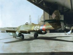 """Messerschmitt W.Nr 112385 """"Yellow JG 7 captured at Stendal Airfield by the US Armored Division, April 15 First pic Colourised by Richard James Molloy Ww2 Aircraft, Fighter Aircraft, Military Aircraft, Fighter Jets, Aircraft Engine, Military Jets, Luftwaffe, Me262, Messerschmitt Me 262"""