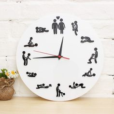 The Clock Of Sex Fun 12 Sex Posture Wall clock Fashion Home Decor