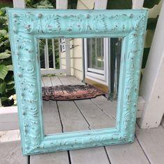 large Shabby Chic mirror, ornate, beveled, spa blue