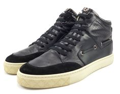 Gucci Mens Shoes 6 Suede & Leather High Top Sneakers 309520 Black