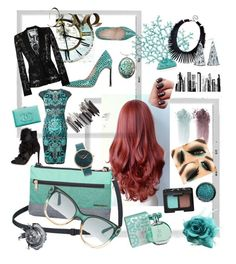 Teal & Black by judy78 on Polyvore featuring polyvore fashion style Versace Moschino Gianvito Rossi Marc Ellis Dakine Kenneth Jay Lane Nixon Gucci NARS Cosmetics maurices RoomMates Decor PBteen Polaroid Nuevo clothing