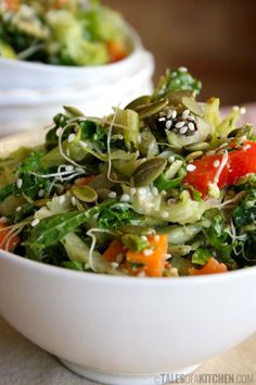 Fresh salad with sprouts and kale pesto dressing