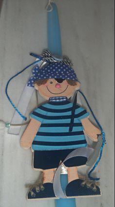 handmade easter candle/ navy/ pirate/ boys/ blue/ K.ompo.S-Handmade Jewel