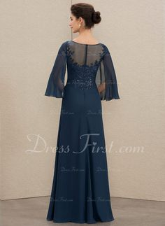 A-Line Scoop Neck Floor-Length Chiffon Lace Mother of the Bride Dress With Sequins - DressFirst Mother Of The Bride Gown, Mother Of Groom Dresses, Wedding Party Dresses, Bridesmaid Dresses, Kebaya, Special Occasion Dresses, Party Wear, Scoop Neck, Fashion Dresses