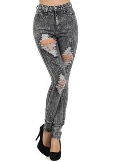Trendy High Rise Jeans- Grey Skinny Jeans- Ripped High Waist Jeans