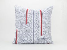 """Hill Tribe Hmong Cushion, Throw Pillow Cover Indigo Cushion Cover 20x20"""" - Hill Tribe Cushion, Blue White Organic Linen, Flower, Red Stripe"""