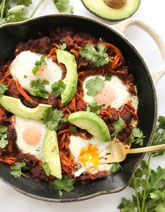 Mexican Shakshuka with Spiralized Sweet Potatoes Spiralized Sweet Potato Fries, Sweet Potato Pasta, Sweet Potato Chili, Sweet Potato Spiralizer Recipes, Sweet Potato Recipes, Healthy Food Blogs, Healthy Recipes, Yummy Recipes, Vegetarian Recipes