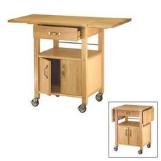 """45-in L x 20-in W x 33.25-in H Natural Kitchen Island with Casters -- 33"""" long with one leaf down and 24"""" long with both down"""