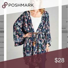 Lazy floral Floral kimono Tops Tees - Long Sleeve