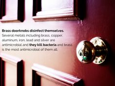 BRASS DOORKNOBS disinfect themselves. Several metals are antimicrobial and kill bacteria, however, brass is the most antimicrobial of them all.