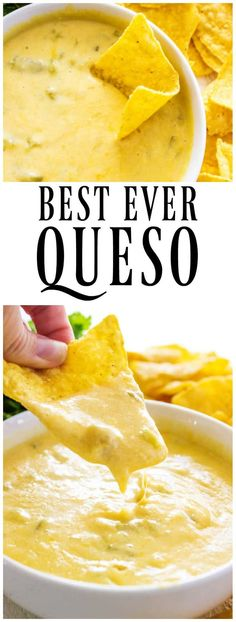 BEST EVER QUESO! Mild & cheesy, it's filled with green chiles & 4 kinds of cheese, it makes homegating delicious. #slowcooker #slowcookerrecipes #queso #cheese #cheesedip #bestrecipe #recipe #superbowl