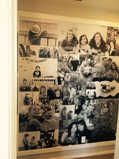 Turn treasured family photos into wallpaper and feature it on an accent wall with trim to frame.