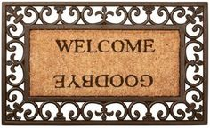 Nach es-RB12 Rubber Doormat by NACH. $37.50. Coir mat wih rubber boarder. Color is dyed into the coir fiber, not just a stamped image. Coir fiber is bleached to achieve more vibrant color. WELCOME, GOODBYEprinted coir mat with scroll design rubber border
