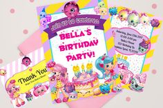 Shopkins Invitation, Shopkins Printable Invitations, Shopkins Party, Shopkins Birthday, Shopkins Thank You Card by WalkingMombieDesign on Etsy Personalized Invitations, Printable Invitations, Party Printables, Shopkins Printable, Shopkins Invitations, Decoration, Thank You Cards, Shopping, Birthday