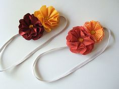 Orange fabric flower headbands