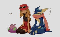 Serena with Greninja and Goomy