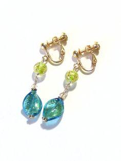 Murano Glass Aqua Twist Peridot Dangle Earrings by JKCJewels