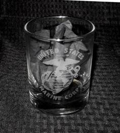 USMC United States Marine Corp Heavy Etched Glass Hiball Cocktail FREE SHIPPING