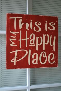 This Is My Happy Place, 11.25x11.25 Painted Stenciled Primitive Wood Sign, Handmade, Handpainted CUSTOM COLORS