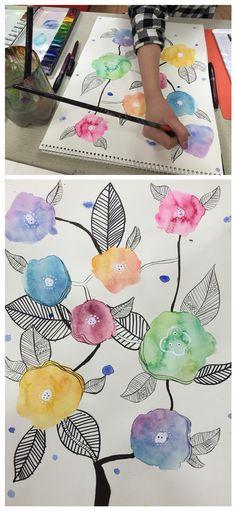 수채화 번지기기법 꽃