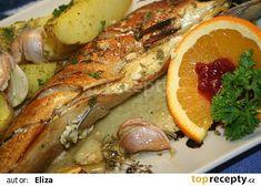 Makrela s nivou na pomerančích recept - TopRecepty.cz Chicken Wings, Shrimp, Meat, Buffalo Wings