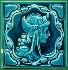 Jugendstil Fliese Kachel, Art Nouveau Tile Tegel, Villeroy & Boch, Königin Queen