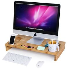 Bamboo Laptop Stand Portable Wood Desk Table Storage Organizer Smartphone TV Cup #BambooLaptopStand