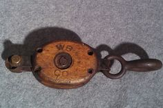 Antique Nautical Barn Block Tackle WOOD & METAL PULLEY w/ hook Stamp WB CC 1699