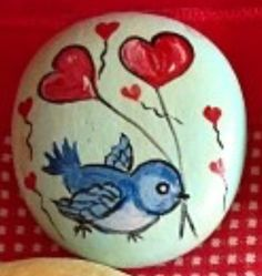 Bluebird of happiness red heart balloons - Hand painted rocks stones pebbles. Pebble Painting, Pebble Art, Stone Painting, Rock Painting, Stone Crafts, Rock Crafts, Rock And Pebbles, Rock Decor, Pet Rocks