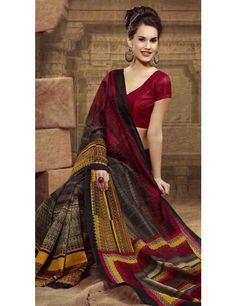 Comfortable Black Bhagalpuri Silk Saree