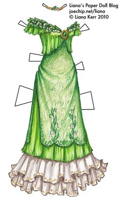 """May Birthday Dress in Green and White with Emerald Brooch and Lilies of the… Paper Art, Paper Crafts, May Birthday, Flower Meanings, Paper Dolls Printable, Paper Fashion, Vintage Paper Dolls, Barbie, Lily Of The Valley"