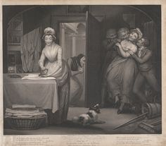Print made by Thomas Gaugain, 1748–1812, French, Diligence and Dissipation: The Modest Girl and the Wanton/ Fellow Servants in a Gentleman's House (Plate 1), 1797, Stipple engraving, open letter proofs, Yale Center for British Art, Paul Mellon Fund