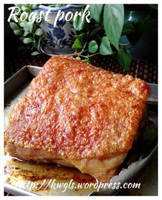 """UPDATED POST Two days after my previous attempt, I decided to prepare another piece of roast pork. As usual, I get a piece of """"fattest"""" pork belly that the butcher had. Pork Belly Recipes, Roast Recipes, Cooking Recipes, Chinese Cooking Wine, Asian Cooking, Chinese Food, Bbq Pork, Pork Roast, Pork Loin"""
