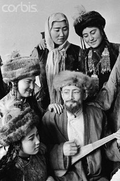 Undated vintage photo of Kyrgyz People in Traditional Clothing, in Kyrgyzstan (formerly part of the Soviet Union).
