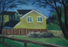 "Daily+Paintworks+-+""Yellow+House+I""+-+Original+Fine+Art+for+Sale+-+©+J+M+Needham"