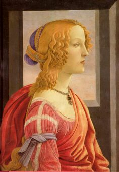 Simonetta Vespucci,1480-85 by Boticelli.  Simonetta Cattaneo de Candia Vespucci (ca. 1453 – 26 April 1476), nicknamed la bella Simonetta, was an Italian Renaissance noblewoman from Genoa and the wife of Marco Vespucci of Florence. She was renowned for being the greatest beauty of her age - certainly of the city of Florence.