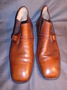 11.5 Vintage MEN'S Made in Italy  BROWN LEATHER Shoe Boot w/ Buckle Retro #Italy #ShoeBootBuckleRetroVintage