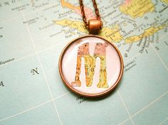 Letter Neckace, Monogram Map Necklace, Custom Map Necklace,Hostess Gift,Map Jewelry,Vintage Map, Bridesmaids Necklaces,Location Necklace