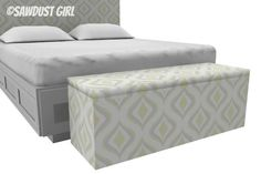 King size upholstered storage bench - free and easy plans from https://sawdustgirl.com.