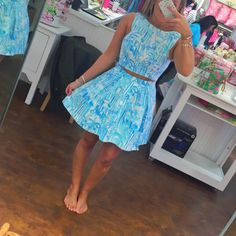 sky blue and white marble patterned dress with brown belt