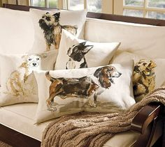 Pottery Barn - Painted Dog Pillows, if only they had a flat-coat retriever!