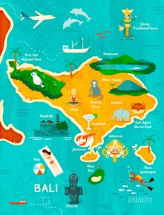 Map of Bali for Garuda Indonesia by Wesley Robins