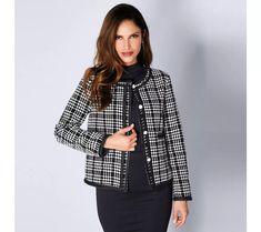 Elegantné sako s kockovaným vzorom Bell Sleeves, Bell Sleeve Top, Blazer, Jackets, Women, Fashion, Plunging Neckline, Pockets, Full Sleeves