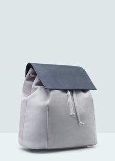 Kapaklı deri sırt çantası | MANGO